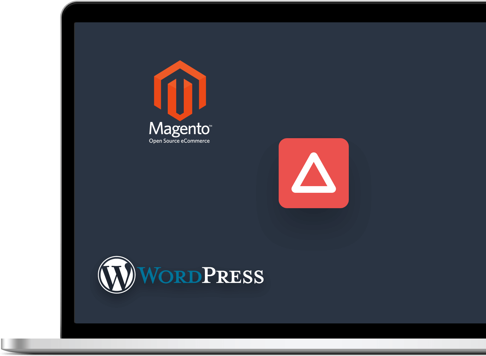 Ordinateur portable affichant les logos de Magento et WordPress
